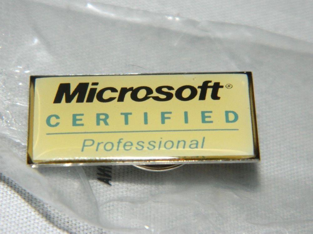 Microsoft Certified Professional Lapel Pin Pinkback Button Award