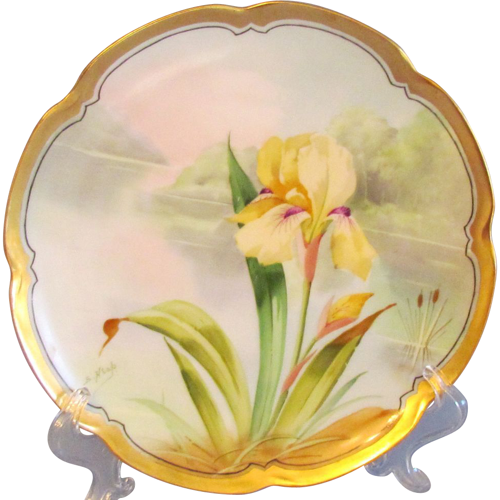 Haviland Limoges Signed Hand Painted Iris Plate, offered by Ruby ...