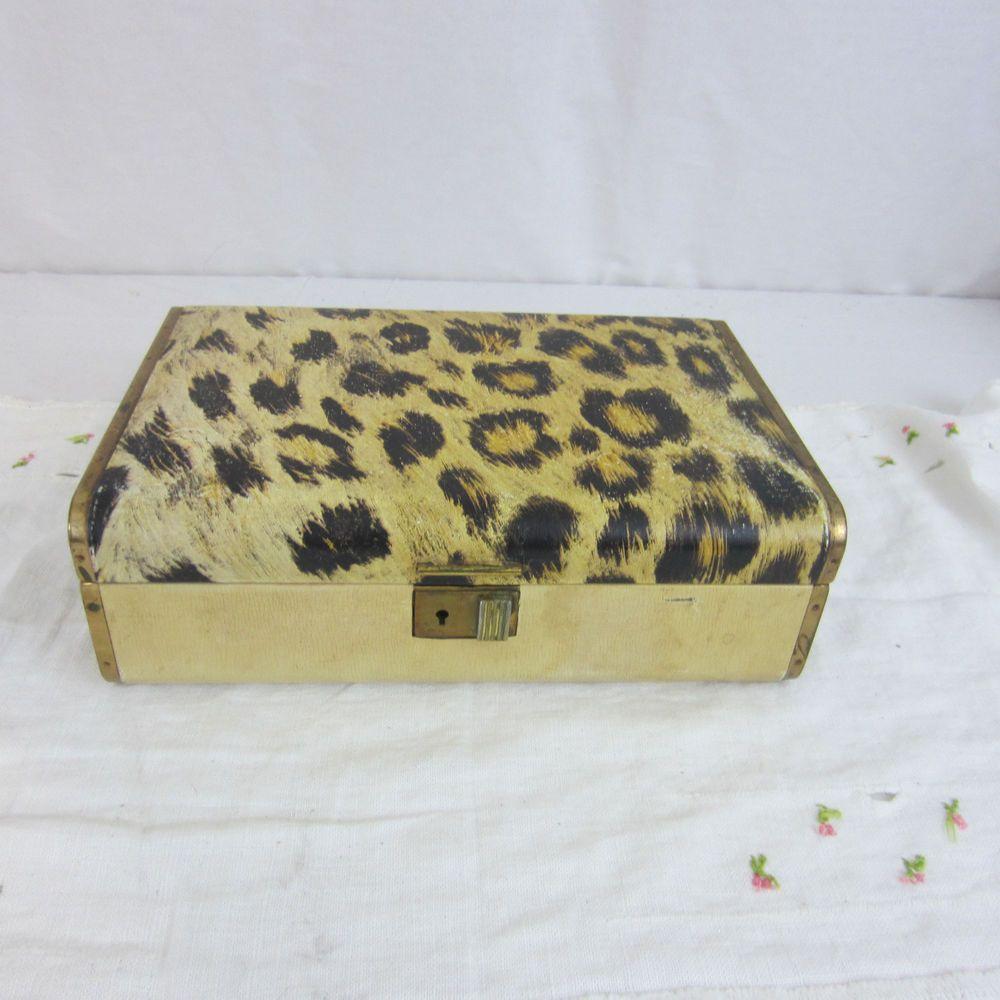 Vintage Farrington Jewelry Box Leopard Print 9 12 x 6 x 3 Genuine