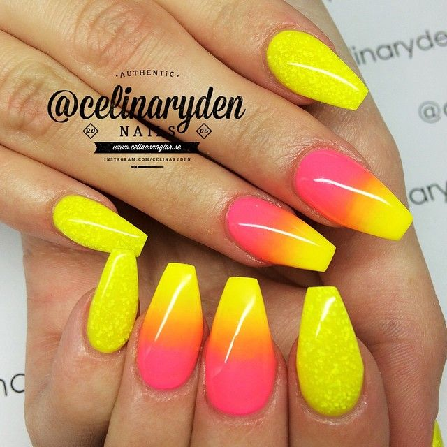 Yellow and pink ombre nails