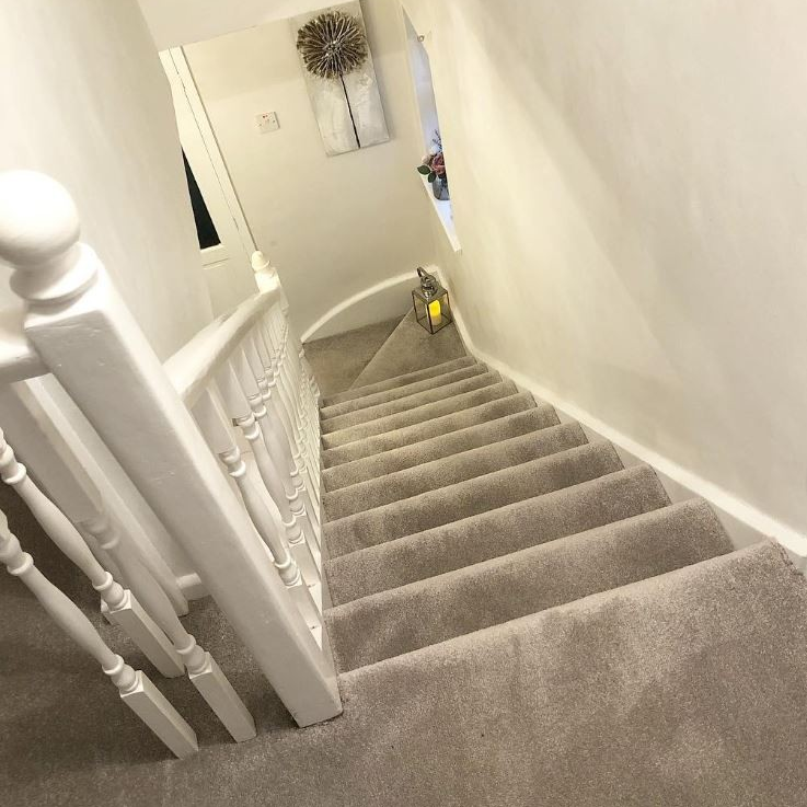 Thank You To Homeat52 For Tagging Us In This Lovely Install Of   Saxony Carpet On Stairs   Laminate Riser   Brown   Carpeted   Tread   Thick