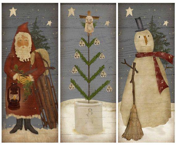 primitive christmas trio instant download print by marysmontage 400 primitive christmas decorating primitive santa - Primitive Christmas