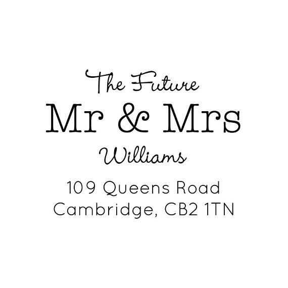future mr and mrs return address stamp personalised stamp custom