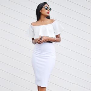 High Waisted White Skirt - Magnet Look