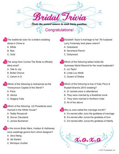 Printable Bridal Trivia For Guests Who Want A Challenge Everything Is About Weddings And You Can Personalize The With Bride S Name