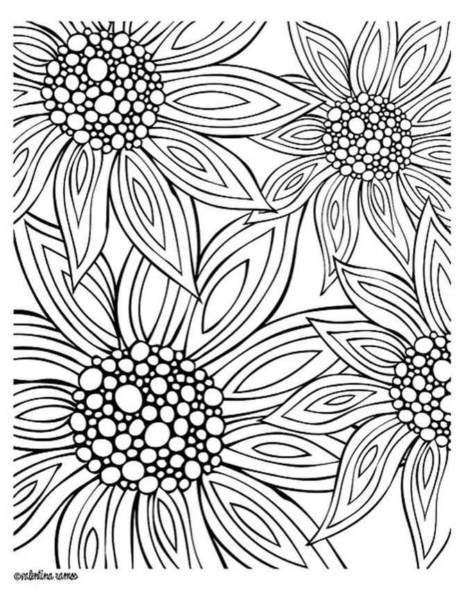 Summer Flowers Coloring Pages Printable Cooloring