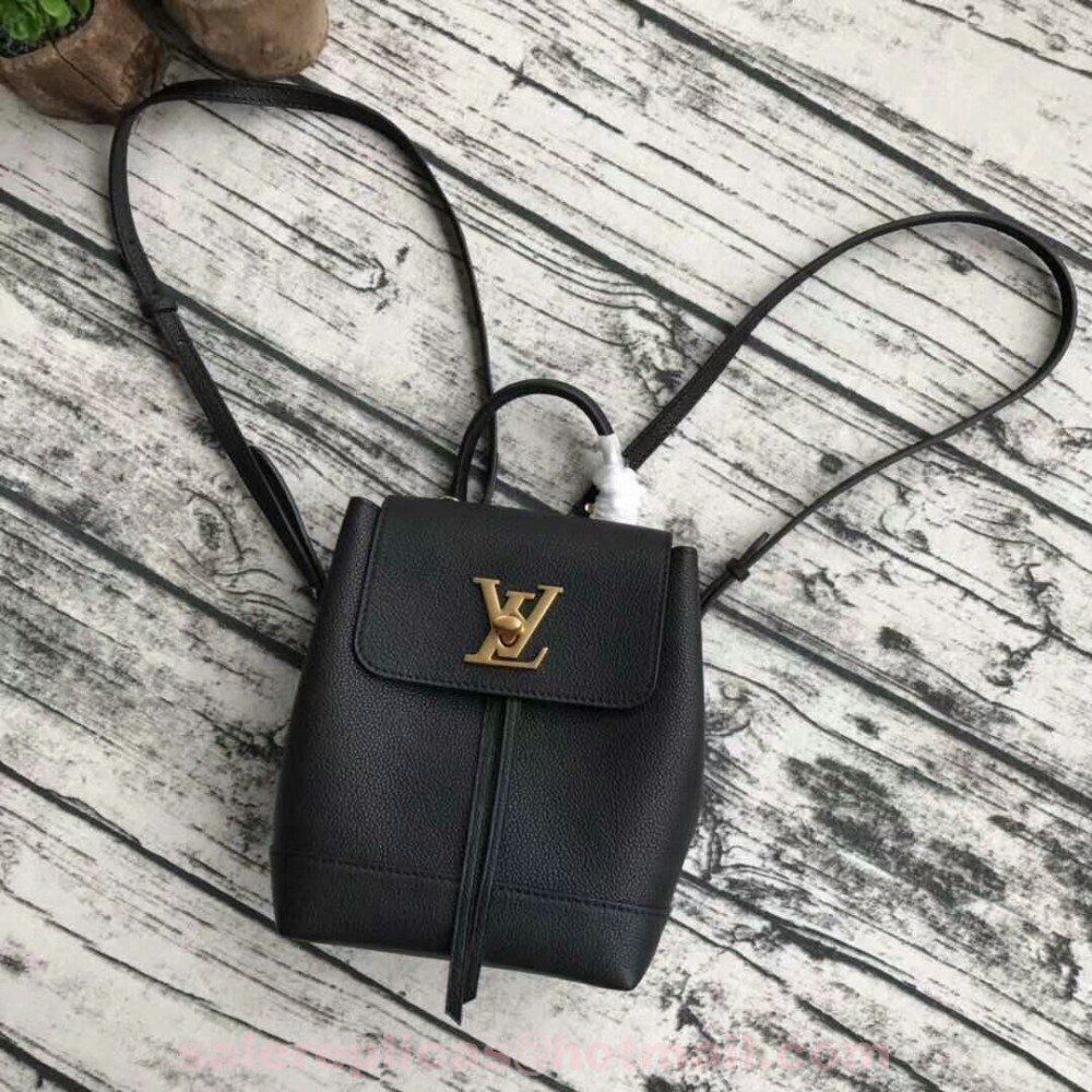 f9fbd38f795d Replica Louis Vuitton Mini Lockme Black Backpack M54575