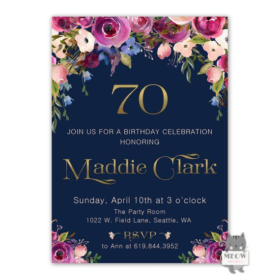 70th Birthday Invitations Floral For Women Invites Printable F