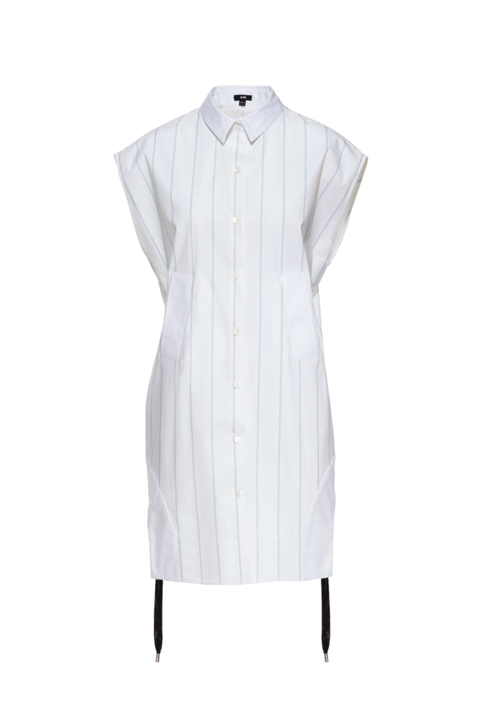 d2a513616caed4 Ji Oh Baby Blue Stripe And White Cotton Button Down Cap Sleeve Above The  Knee Shirt