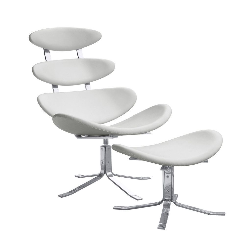 fine mod imports crono chair and ottoman white