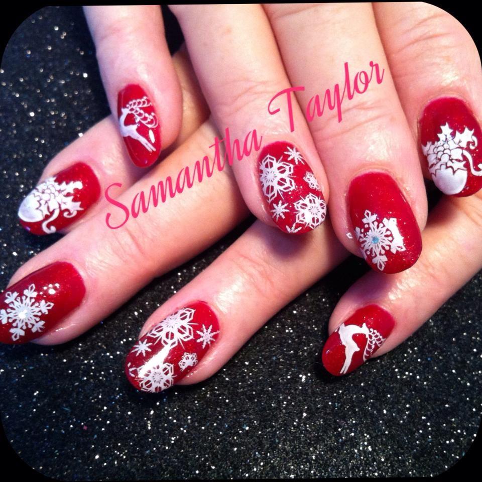 Christmas Nail Art With Gel Polish: Red Gel Polish With White Christmas