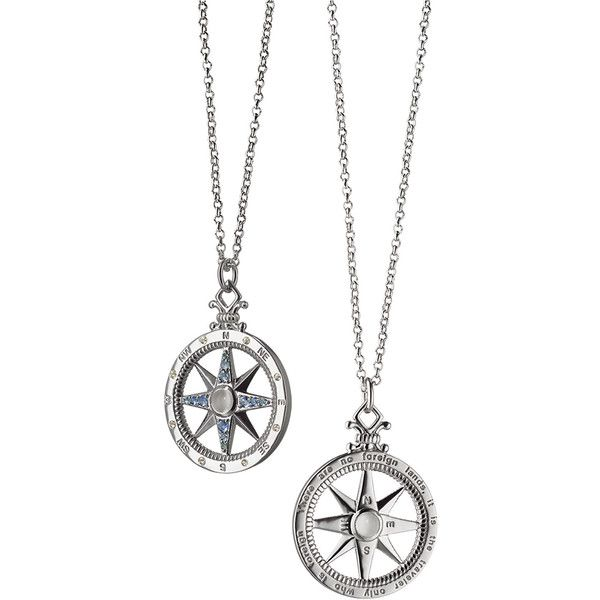 Monica Rich Kosann Sterling Silver Compass Necklace with Moonstone &... ($495) ❤ liked on Polyvore featuring jewelry, necklaces, jewelry necklaces, unassigned, sterling silver engravable jewelry, sterling silver necklace, blue sapphire necklace, lobster clasp necklace and sterling silver jewellery