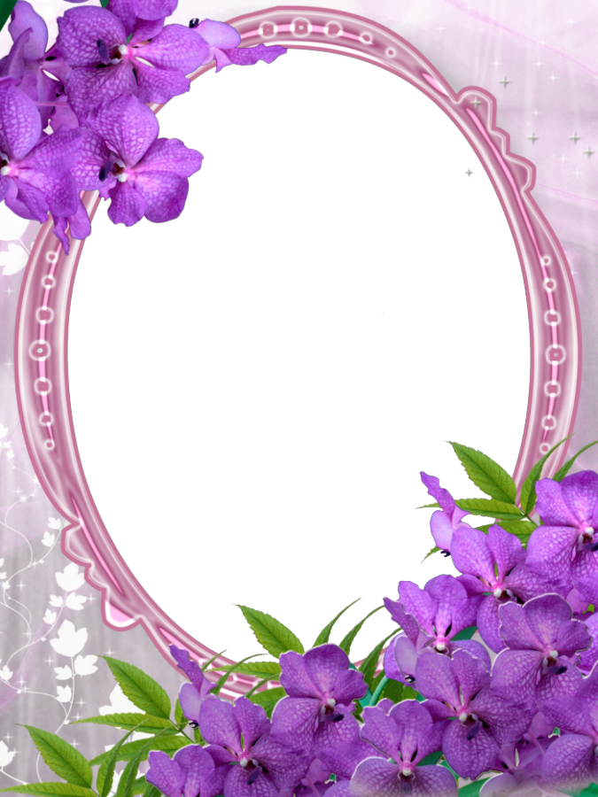 Pink Transparent Frame With Purple Flowers Gallery Yopriceville High Quality Images And Transparent Png F Flower Frame Purple Flowers Floral Border Design