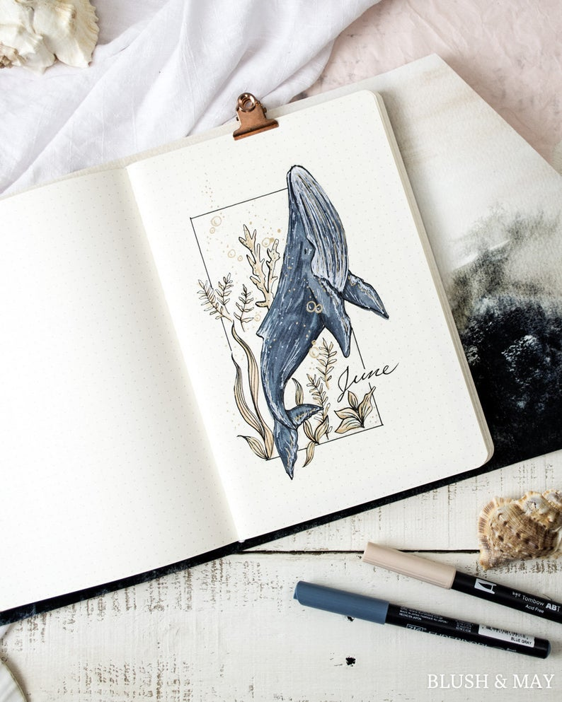 Printable for Journal or Planner | Blank and June Whale Cover Page