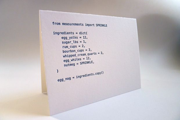 handmade letterpress cards featuring an eggnog recipe in Python, Ruby, PHP, and Javascript