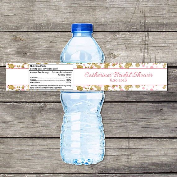 Pink Bridal Shower Water Bottle Labels - Water Bottle Labels for Bridal Showers - Bridal Shower Favors - Pink and Gold Bridal-146