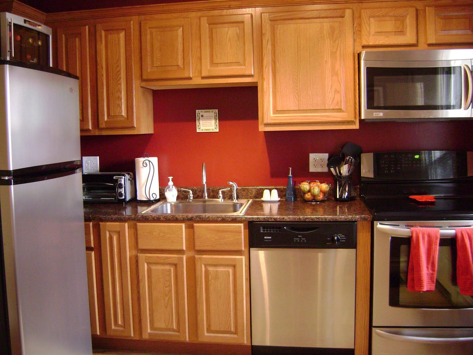 Red Colour Wall: Kitchen Wall Color Ideas With Oak Cabinets