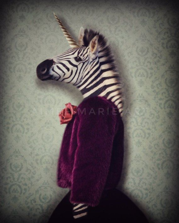 Zebra Print, Whimsical Art, Quirky Animal Art, Eclectic