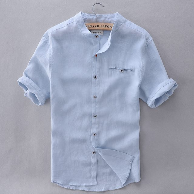48694160d578 French Style Brand Shirt Men Linen Summer Short Sleeve Casual Men Shirt  Fashion Solid Shirts Mens Business Clothing Mens Shirts