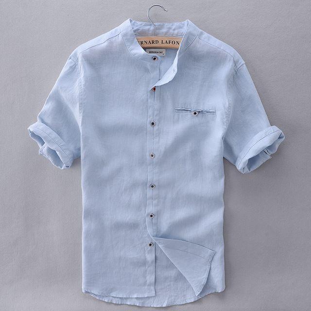 French Style Brand Shirt Men Linen Summer Short Sleeve Casual Men