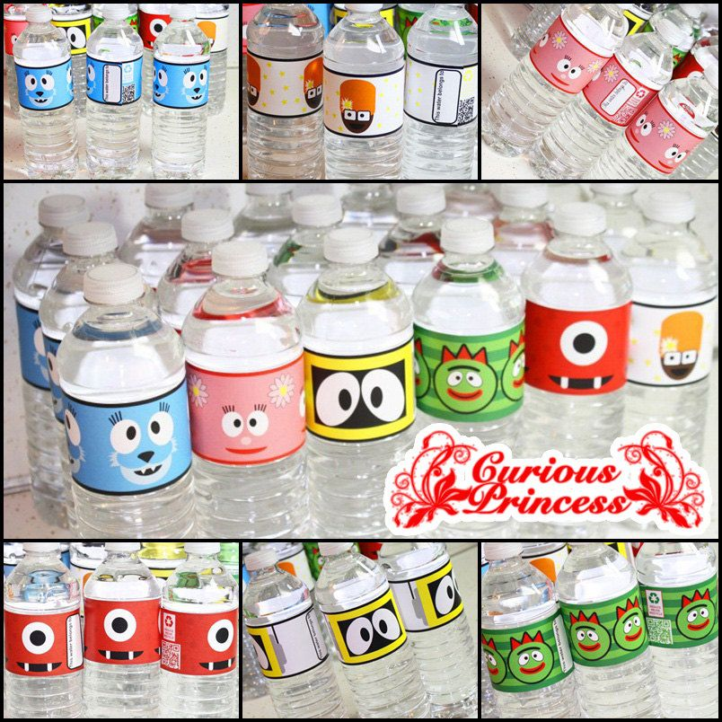 Yo gabba inspired happy birthday water bottle labels party PRINTABLES printable files high resolution diy piy. $5.99, via Etsy.