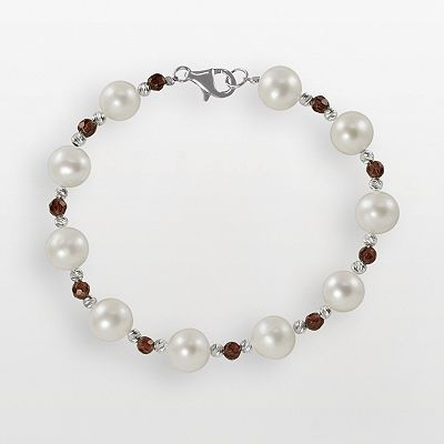 Sterling Silver Freshwater Cultured Pearl and Garnet Bead Bracelet