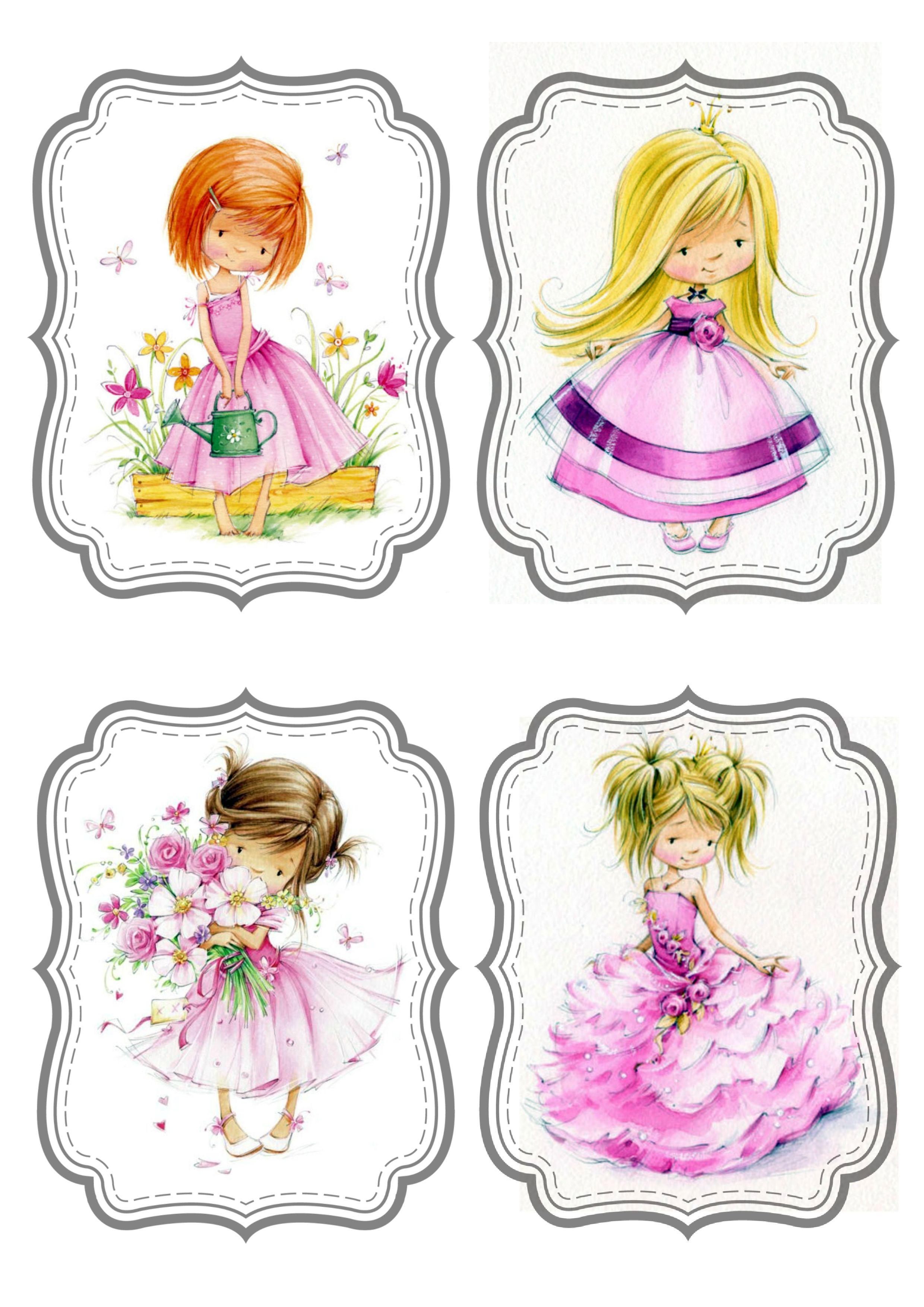 Картинки для скрапбукинга для распечатки цветные девочки