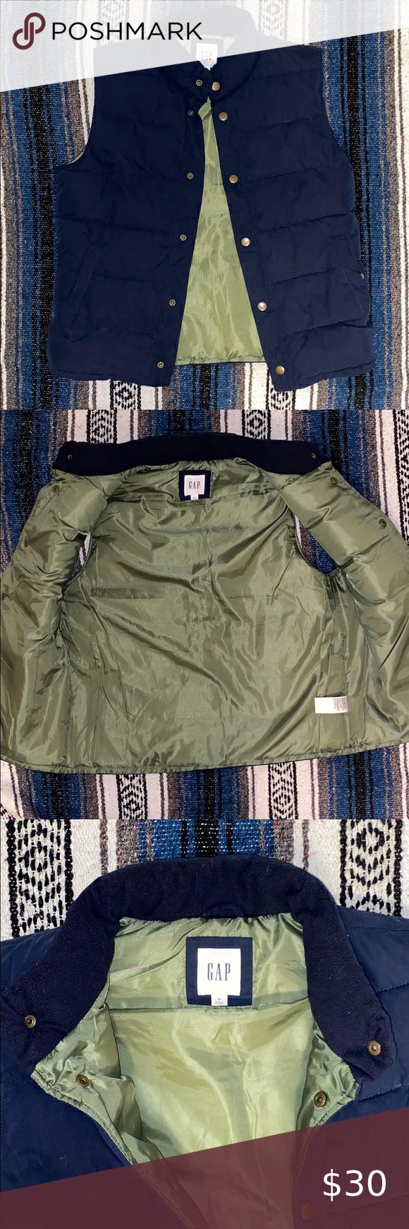 Men S Gap Puffer Vest M In 2020 Sleeveless Puffer Black Puffer Vest Reversible Puffer Vest [ 1740 x 580 Pixel ]