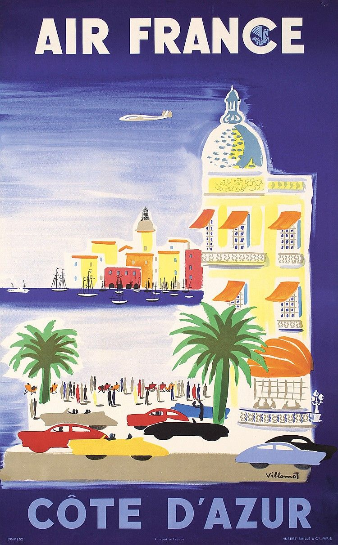 Poster design 50s - Stunning 50s Original Air France Travel Poster Villemot