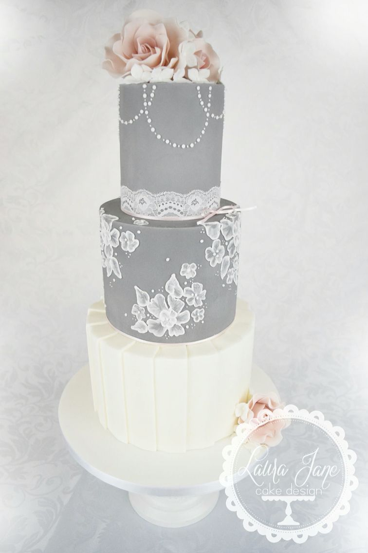 Grey lace wedding cake | Wedding Cake Professionals | Pinterest ...