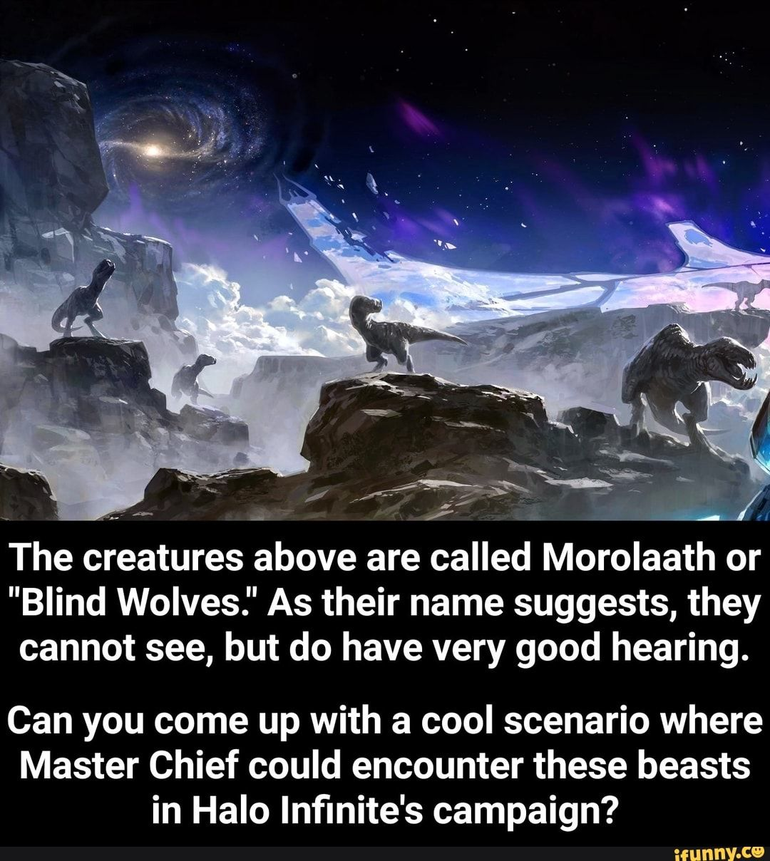 The Creatures Above Are Called Morolaath Or Blind Wolves As Their Name Suggests They Cannot See But Do Have Very Good Hearing Can You Come Up With A Cool Creatures