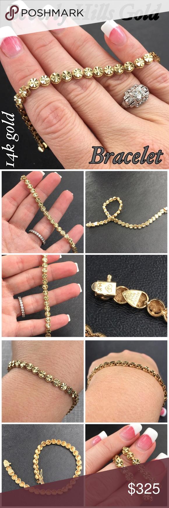 14k Beverly Hills Gold Diamond Cut 3D Bracelet Beautiful 14k Solid