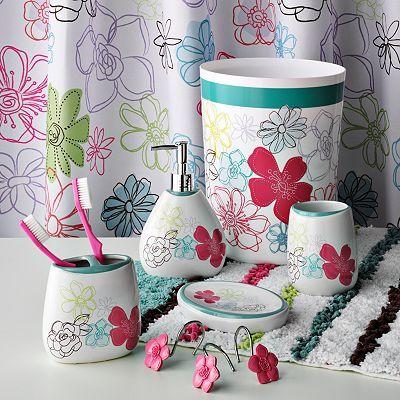 Kohl S Flora Bath Accessories Sale 10 49 29 99 Bath Coordinates Girls Bathroom Bath