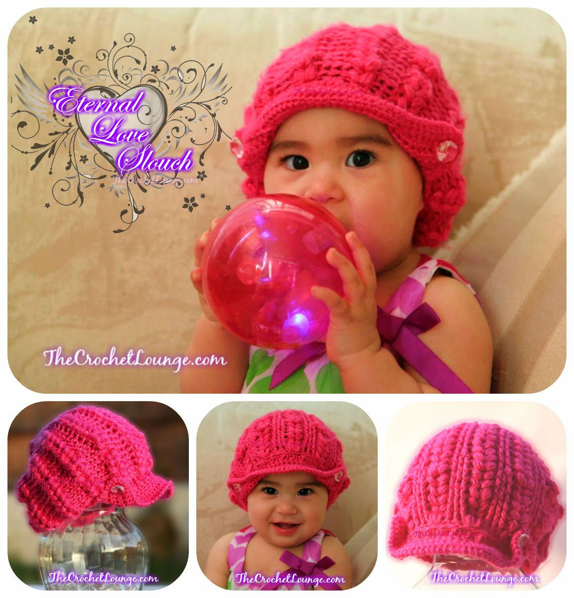 Eternal Love Baby Slouch - free crochet reversible slouch hat ...