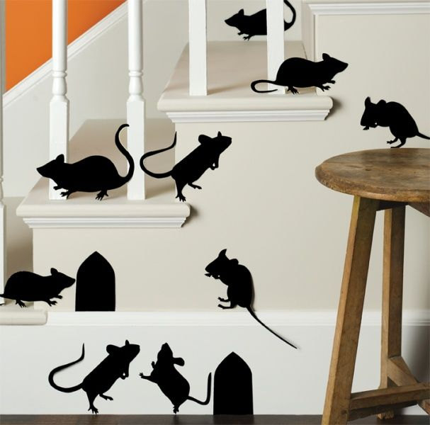 Cut Out Mice Silhouettes On Black Paper And Hang Them Up