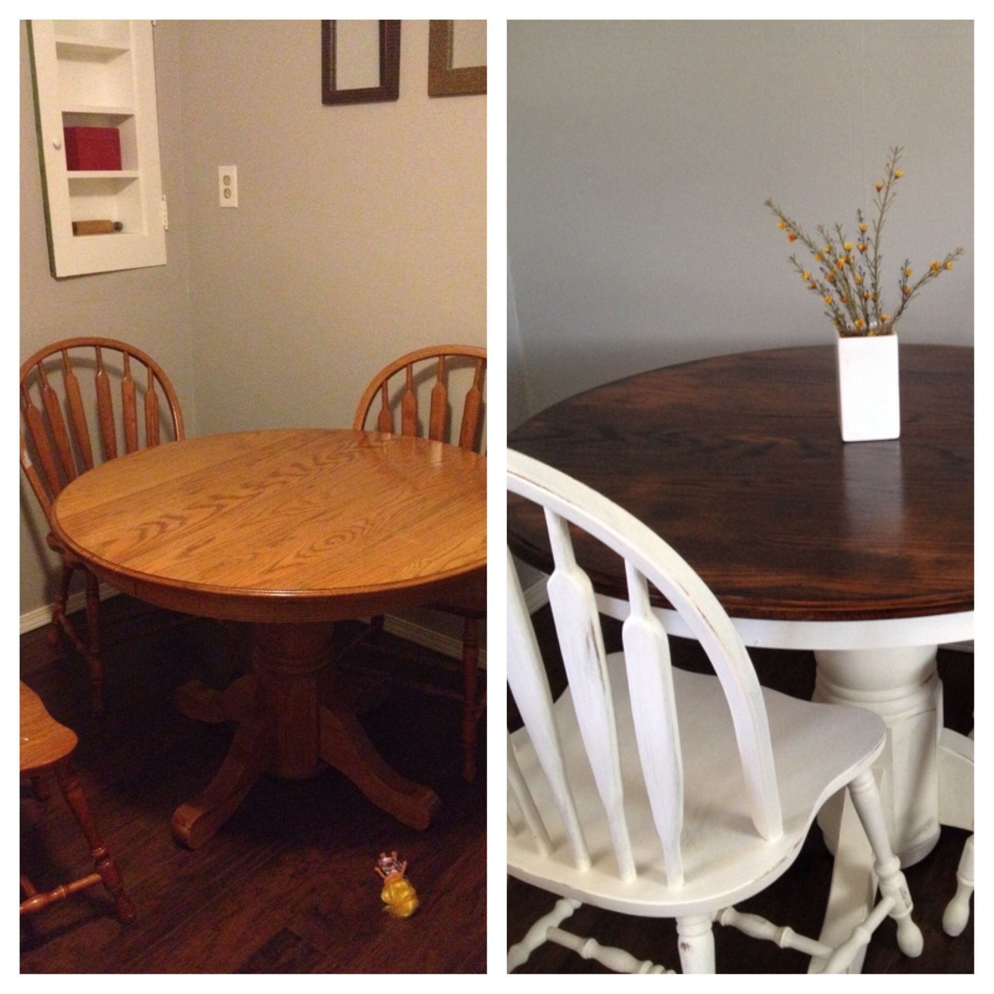 My Before And After Gave An Old Oak Table And Chairs A Makeover Used Chalk Paint From Home Depot Oak Table And Chairs Diy Dining Room Dining Table Makeover