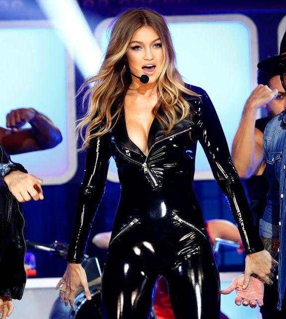 Lip Sync Battle Gigi Hadid Sweater Blue: Celebrities In Leather: Gigi Hadid Wears A Black Leather