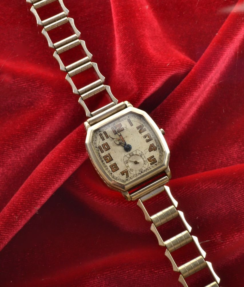 vintage 1920 s art deco mens elgin wrist watch 14k needs repair vintage 1920 s art deco mens elgin wrist watch 14k needs repair ww1 style