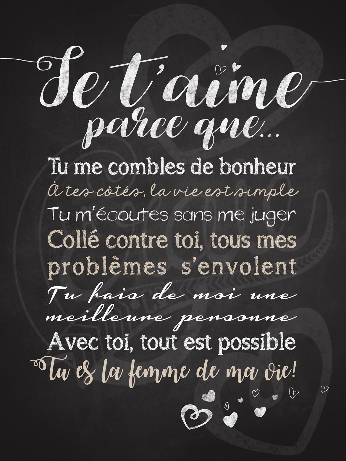 Phrase Pour Dire Je T Aime : phrase, Affiche, Personnalisée, Couple, T'aime, Parce, 25,00$, #chalkboard, #couple, #saintvalentin, #lacraieco, D'amour,, Phrase, Amour,, Citation, Damour