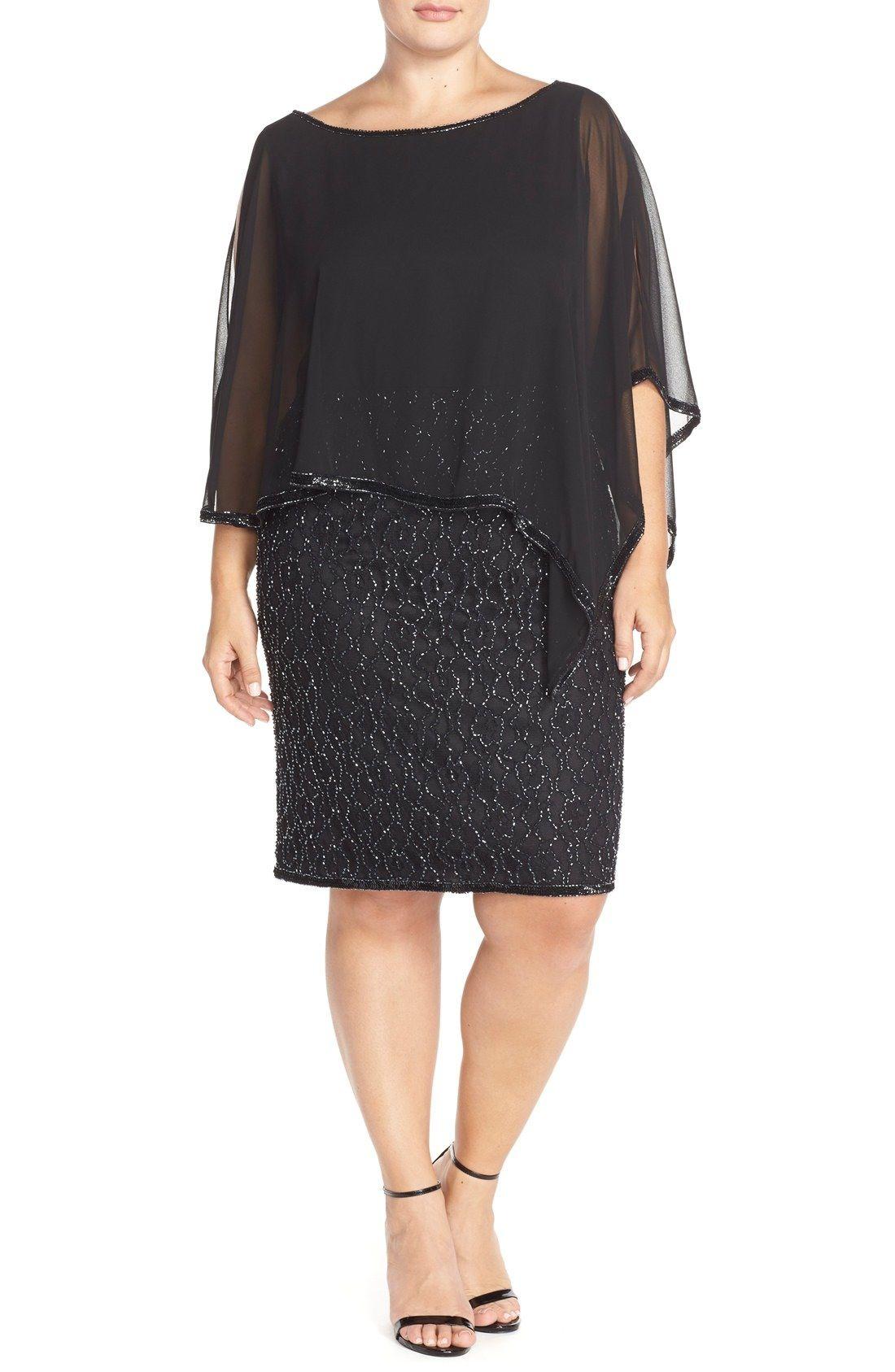 J Kara Chiffon Overlay Beaded Cocktail Dress Plus Size