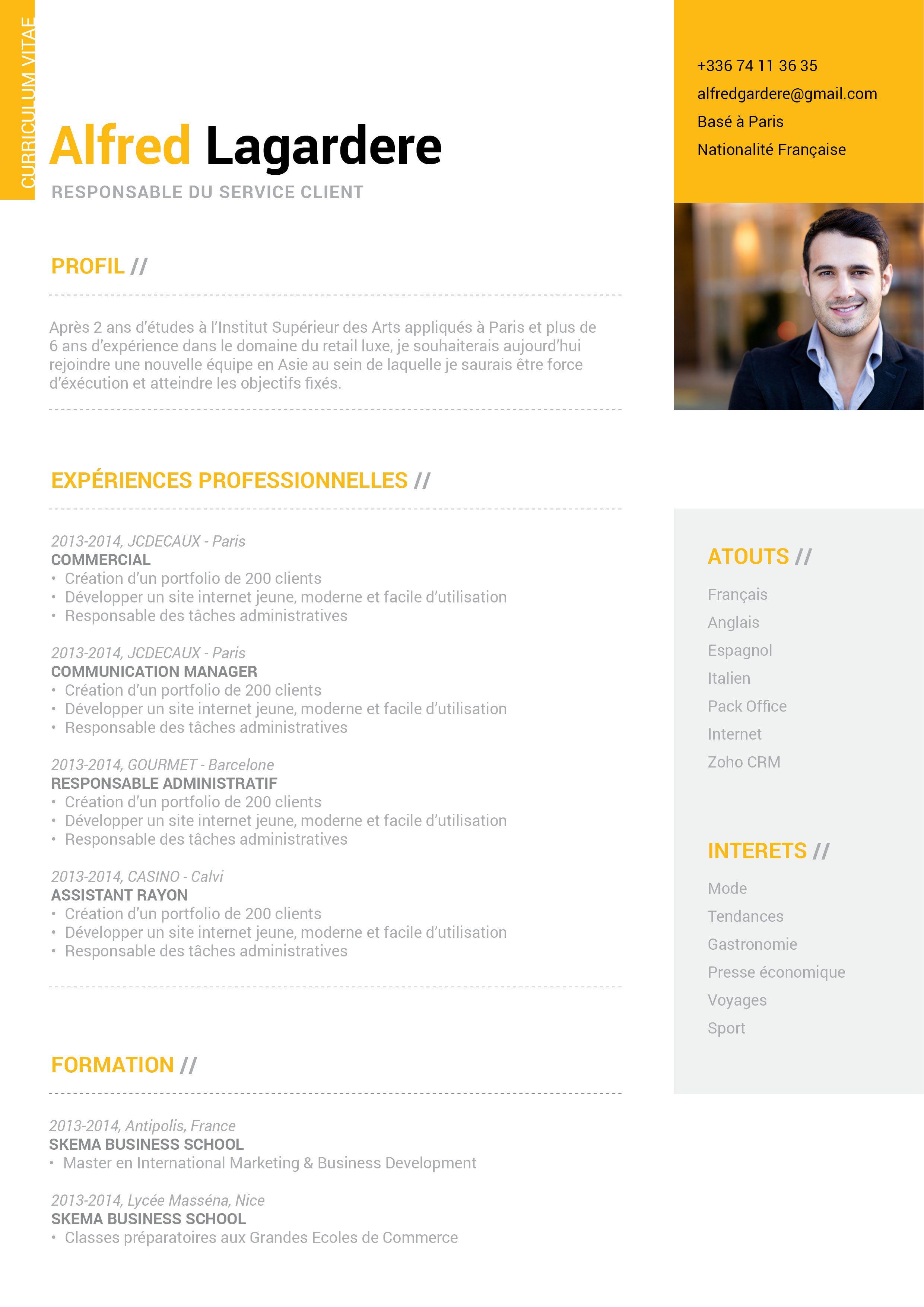 Épinglé par Ingrid sur CV Cv cadre, Modèle cv et Exemple cv