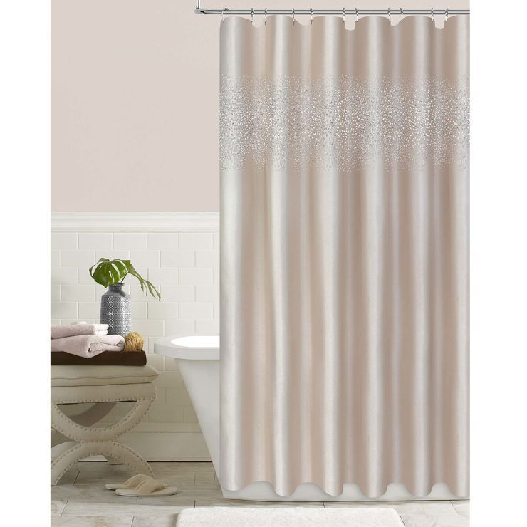 Blush Crystal Stardust Shower Curtain Shower Curtain Elegant