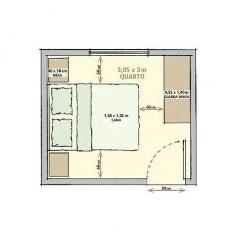 Medidas recomendadas para una habitacion dormitorio in for Planos de casas de una habitacion