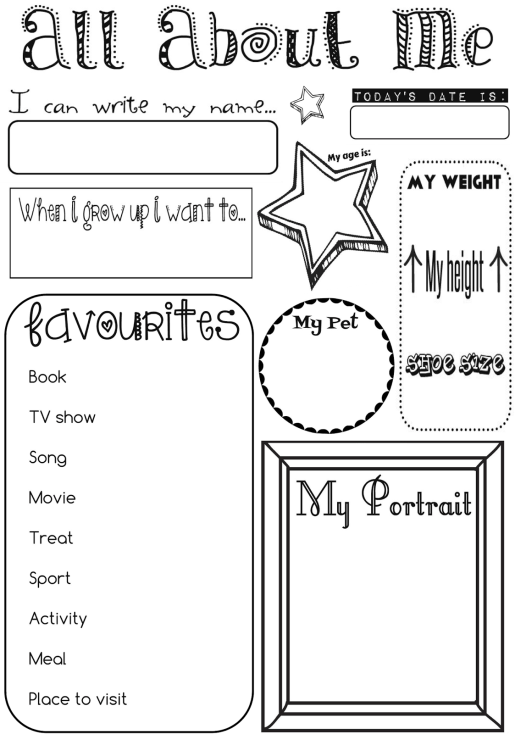 'All About Me' Activity Sheet Ernie & Bird by Lis O