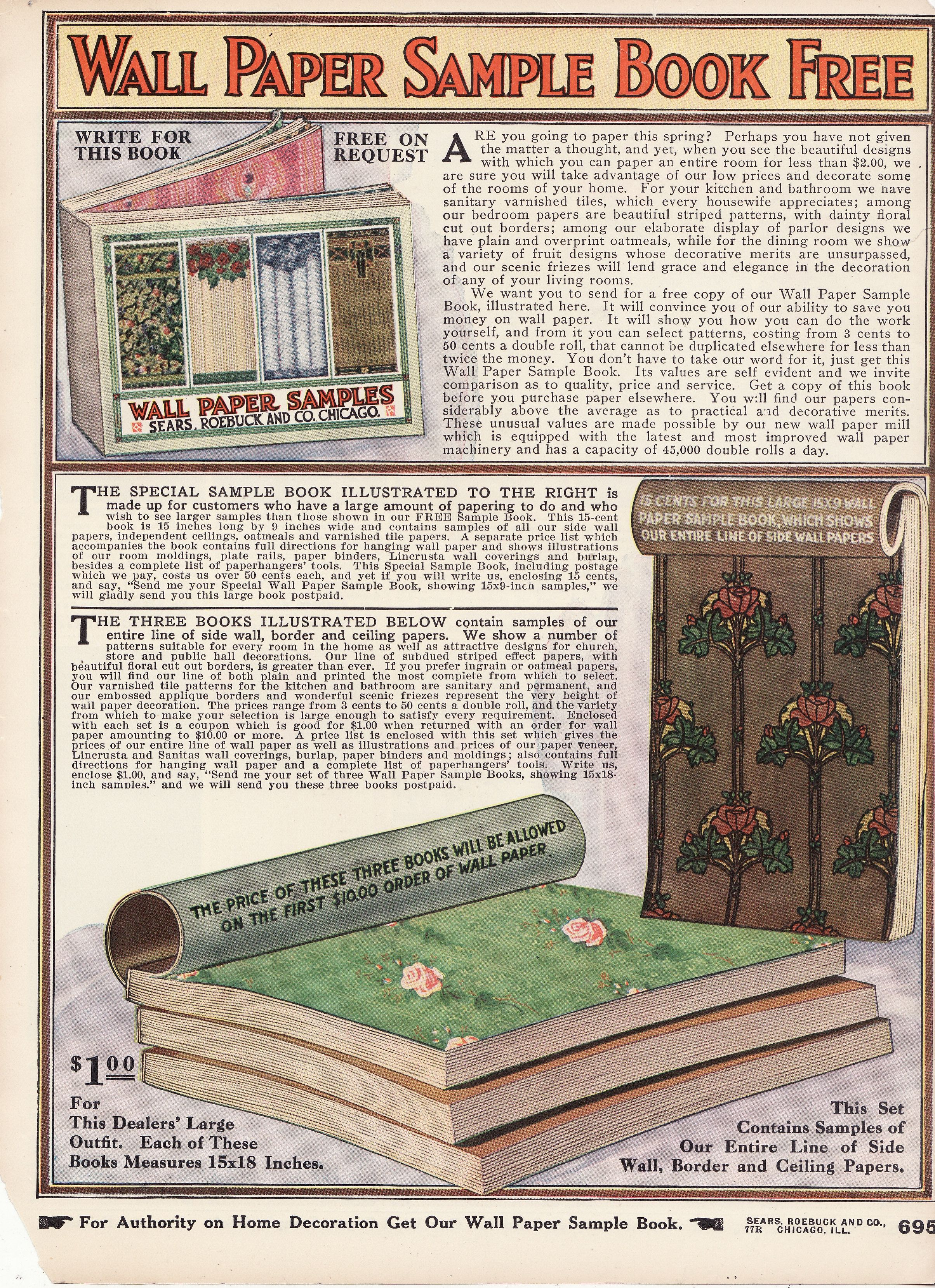 Wallpaper Sample Book Ad | 1914 SEARS Spring/Summer Catalog