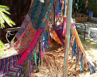 Shabby chic Wedding Decor Backdrop Outside decorations MADE TO ORDER teepee tent centerpiece patchwork bed eco friendly Bohemian hippiewild