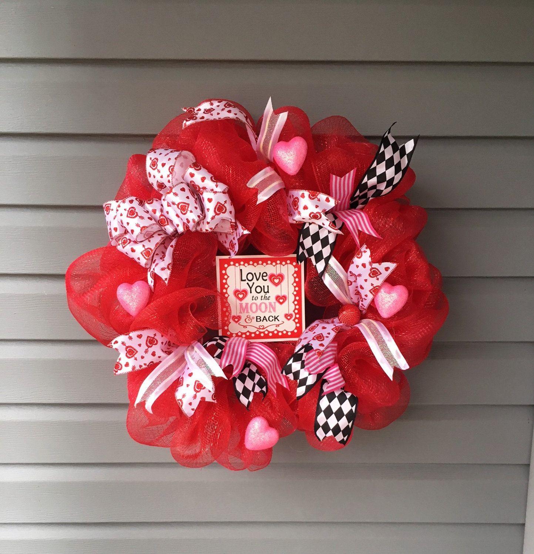 Valentine Wreath For Front Door Red Mesh Wreath Deco Mesh Wreath