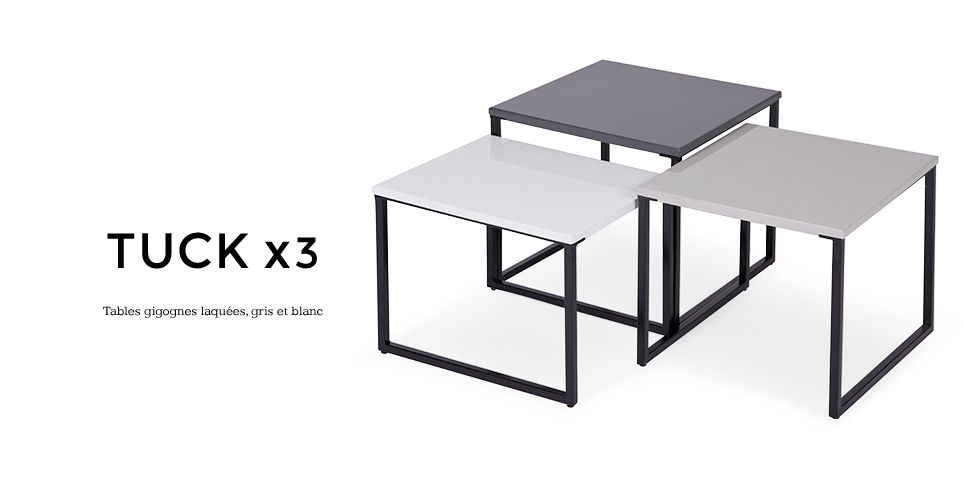 3 x tuck tables gigognes laqu es gris et blanc. Black Bedroom Furniture Sets. Home Design Ideas