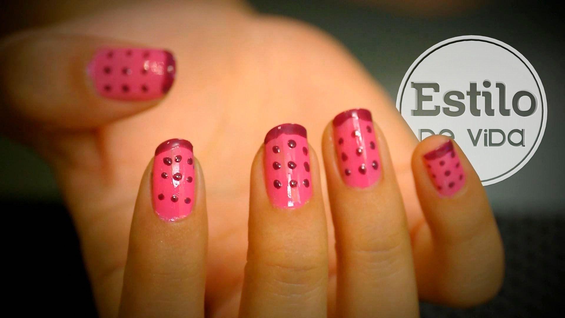 Diseño de uñas con puntos ¡Muy fácil!   NAIL ART   Pinterest