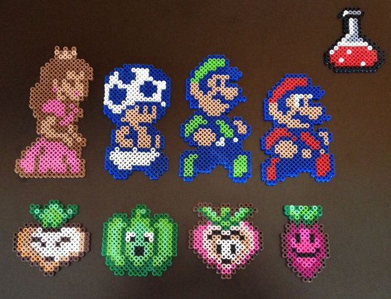 Super Mario Brothers 2 8 Bit Perler Characters By Ebperler On Etsy